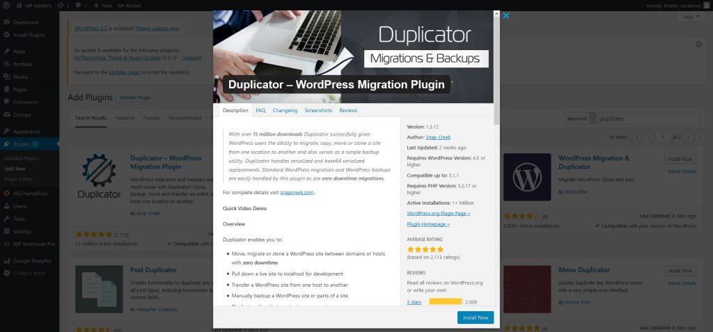 setup Duplicator plugin