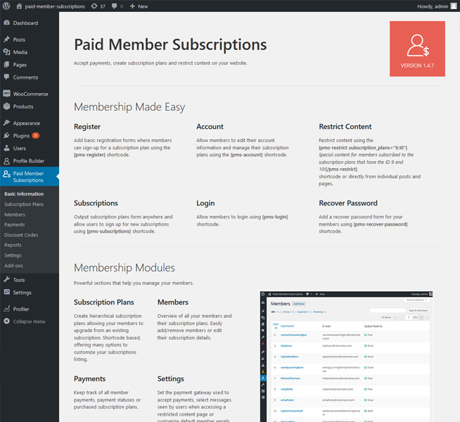 free and premium membership plugin that enables you to restrict content