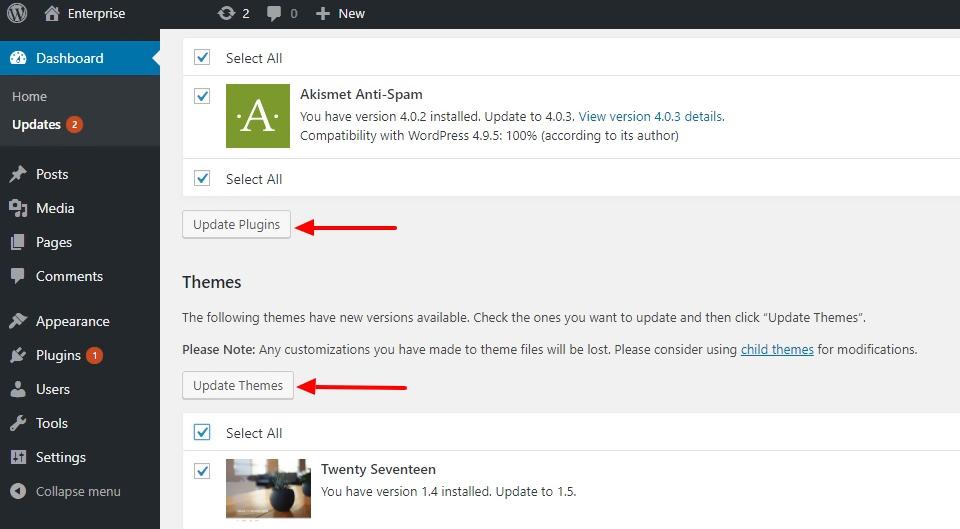 Regularly update your WordPress theme and plugins