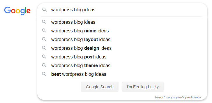 Google autocomplete for finding blog article idea