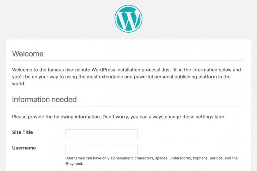 WordPress welcome screen for a fresh site