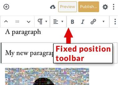 WordPress mobile editing toolbar