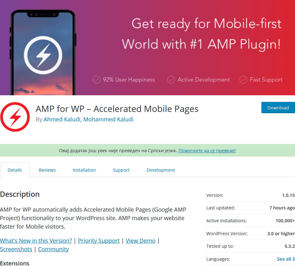 One of the best AMP plugins for WordPress Accelerated Mobile Pages