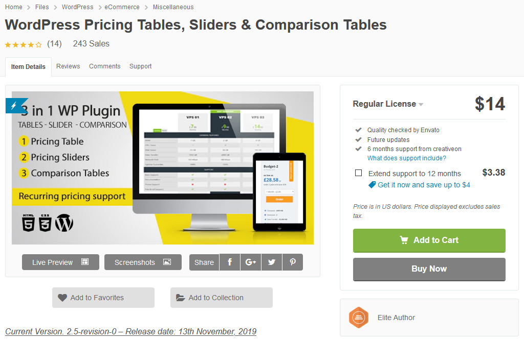 WordPress Pricing Tables price comparison product comparison WordPress plugin