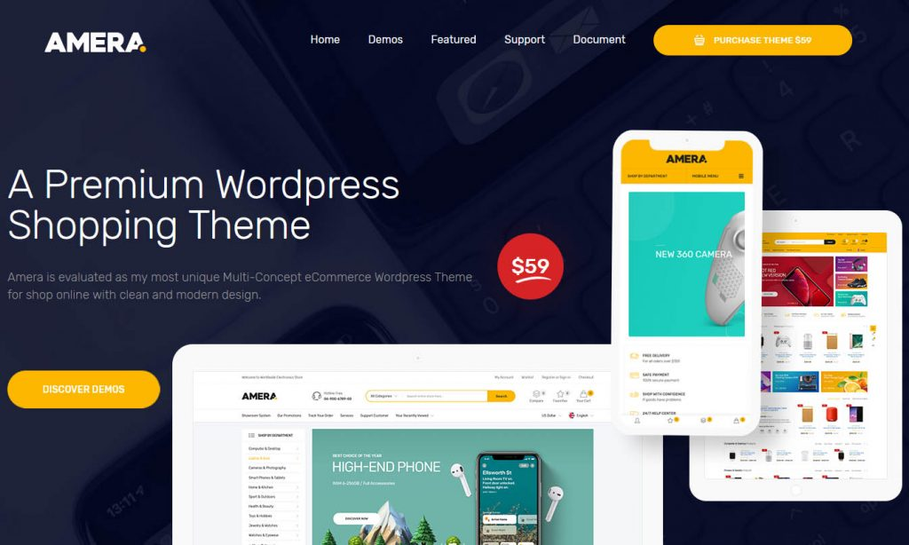 Amera premium WordPress theme that is fast and lightweight